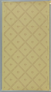 """Trellis or grid pattern with diagonal lines made up of squares and rectangles with beading. Fleurons are set in the squares. Background is a pattern of three dashes. Ground is greenish beige. Printed in white, beige, brown, gold mica.  Printed in right selvedge: """"S. A. Maxwell & Co."""" """"2423"""""""