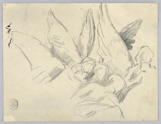 Upper bodies and wings of four angels, all facing slightly to the right. Wings vertical. Black ink marks, upper left.
