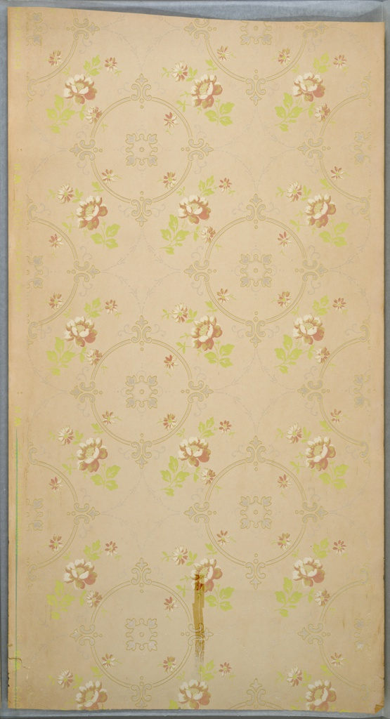 Repeating circular medallions in between which are flower bouquets on each side, connected by thin and simplified floral swags. Printed in greens, pink, white, white mica, and beige. Rip and tape stains.