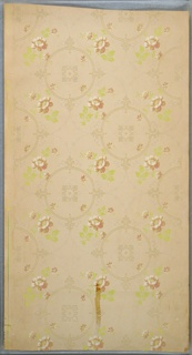 "Repeating circular medallions in between which are flower bouquets on each side, connected by thin and simplified floral swags. Printed in greens, pink, white, white mica, and beige. Rip and tape stains. Printed in selvedge: ""Benton. Heath & Co. 1049 WB"""