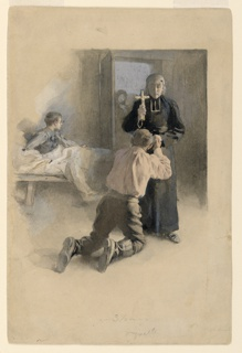 A young man kneels before a priest who holds a crucifix before him. In the background, another young man in bed and a figure standing in the doorway.