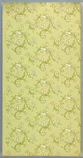 Repeating pattern of acanthus sprigs printed in green and white, on light green ground.