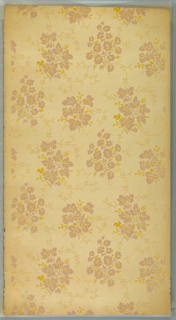 Clusters of foliage, almost forming bouquets, connected by vining tendrils, printed in dashed lines. Printed in mauve and yellow ocher on off-white ground.