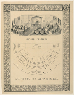 """Vertical rectangle. Vignette of Senate Chamber interior, looking toward the Speaker's podium. Below: plan of the chamber, with names of members indicated. Caption: """"Senate Chamber Harrisburg 1850."""" Enclosed in ornamental frame. Lower left: """"Pubished by S.T. Williams."""" Lower right: Lith. of A. Kollner Phile H. Camp litho press."""""""
