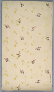 Small floral sprig with tiny purple flowers among Japanese maple leaves printed in yellow ocher. Printed on white ground.