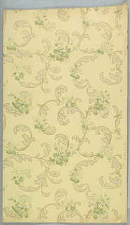 Loosely formed pattern of acanthus scrolls in various sizes, joined by floral sprigs. All of the leaf forms are outlined.. Printed in green, tan, and white mica on off-white ground.