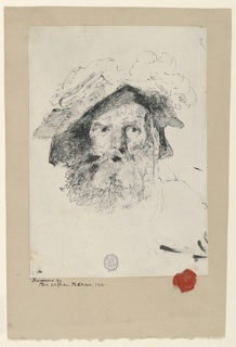 Sketch of a male figure with a beard and wearing a hat.