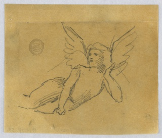 Three-quarter winged figure, recumbent, leaning on the left elbow and the right hand.