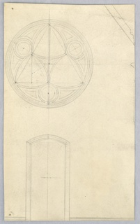 A low narrow door with plain mouldings and a rose window are shown. Part of other details, at right. Verso: Sketch for the head of a woman, recumbent, facing upward, shown from the right cheek, sketched in black crayon.