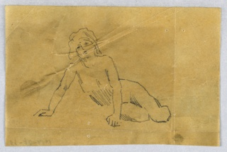 A girl shown frontally, recumbent, and leaning on both hands. The head is at left.
