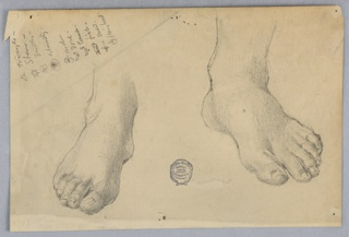 Left and right feet and ankles.  Upper left, a list of symbols and their significance. Symbols include: triangle, star, 3 circles, eternity, anchor, dove, tomb, fish, sword, flaming heart.