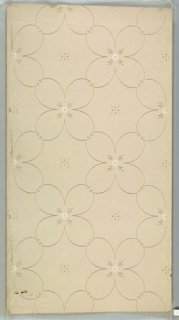 """Lattice pattern of four-petal floral motif with small six-petal white flower insets. Fleurons in resulting square spaces. Background of white mica dots on light beige ground. Printed in white mica, white tan, and metallic gold (turning green in some spots).  Printed in right selvedge: """"S. A. Maxwell & Co."""" """"1907"""" """"C(or G?)11"""""""