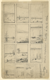 Thirteen small scenes of boats and open landscapes, each framed.