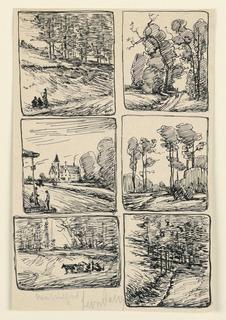 Drawing, Six Landscape Studies, New Milford