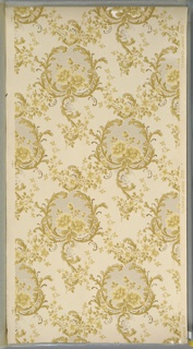 """Floral medallions with rose insets and lattice detail from which hang foliate scrolls. Medallions connected by floral swags. Cream ground. Printed in tans, light yellow, metallic gold and white liquid mica. Printed in right selvedge: """"Robert Graves Co."""" Pattern number """"4012"""""""