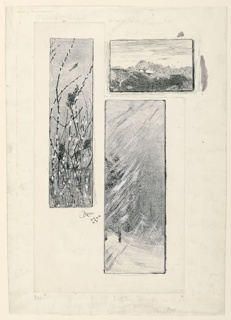 Three panels representing embroidery designs. The vertical panel on the left shows pussy willows, and the vertical panel to its right shows drifting snow.  Above, the horitzontal panel shows an orchard.  The two vertical panels are drawn on paper, then mounted to the illustration board; the third, horiztonal panel is drawn directly on the board.