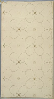 "Lattice pattern of four-petal floral motif with small six-petal metallic gold flower insets. Fleurons in resulting square spaces. Background of white mica dots on light beige ground. Printed in white mica and metallic gold that is turning green in spots. Printed in right selvedge: ""S.A. Maxwell & Co."" Pattern number ""1907"" ""GB"""