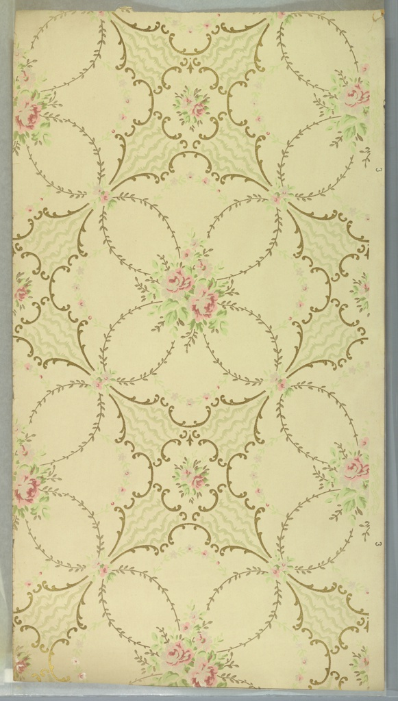 """Alternating large circular medallions of scrolls with rose bouquet centers, foliate vining and floral swags and small medallions with scrolls and rose bouquets. Wavey vine-like lines between medallions. Cream ground. Printed in pinks, greens, white mica and gold mica. Printed in selvedge: """"Sandard Papers"""" """"3""""."""