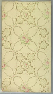 "Alternating large circular medallions of scrolls with rose bouquet centers, foliate vining and floral swags and small medallions with scrolls and rose bouquets. Wavey vine-like lines between medallions. Cream ground. Printed in pinks, greens, white mica and gold mica. Printed in selvedge: ""Sandard Papers"" ""3""."