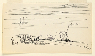 Drawing, Landscape with River