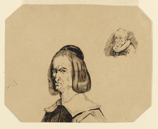 Drawing, Heads of two men, in the style of Frans Hals