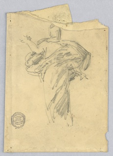 Sketch for Christ in the painting in the chancel of St. Bartholomew, New York City. Shown without feet, clothed in drapery. The right foreram is raised, the left arm lowered.