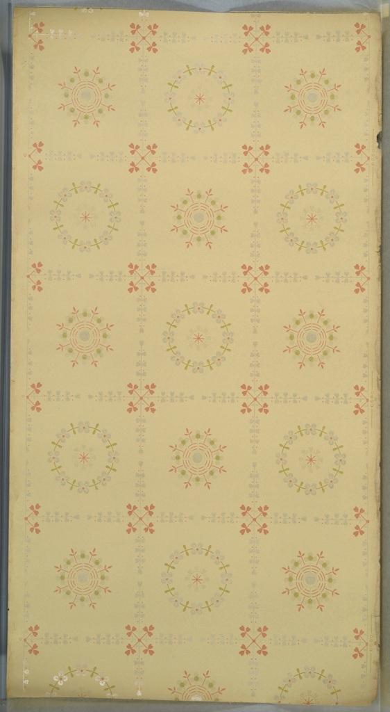 "Foliate vining grid with four-stem clover joints and two different floral wreath insets. Cream ground. Printed in pink, green, white and white liquid mica. Printed in selvedge: ""Janeway & Co."" Pattern number ""761"""