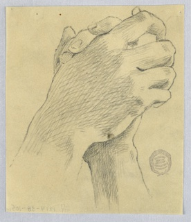 Hands clasped, fingers folded, palms together.