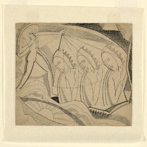 Drawing depicts a standing figure with arm extending over three devout figures, as though blessing them.