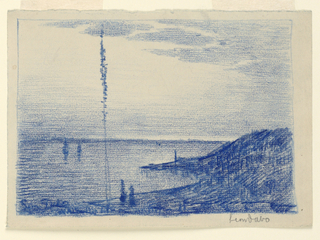 A body of water, with gently rising bank at right. A tall, lone tree in the left foreground. Two ships in the distance.