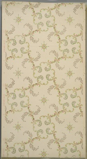 Floral and foliate scrolls with interspersed fleurons. Cream ground. Printed in light green, pink, gold mica and white mica. (Gold mica has green spots.)
