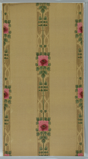 Floral stripe design. Stylized square rose set within foliage, all forming vertical stripe. Printed in red, pink, green and brown on tan ground.