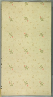 "Repeating pink floral motif with all-over, monochromatic, smaller floral motif. Background of dash and dot pattern. Cream ground. Printed in pinks, greens, beige and white liquid mica. Printed in selvedge: ""S.A. Maxwell & Co."" Pattern number ""1657"""