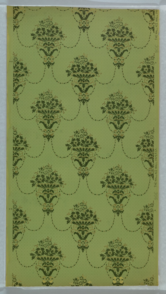 On light green-blue ground, treillage composed of beads with floral vase motifs in turquoise and yellow at interstices.