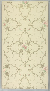 "Large four-pointed scroll medallions with rose bouquet center and vining connected by bead swag and floral swag. Cream ground. Printed in pinks, greens, white, gold mica and dark gold mica. Printed in selvedge: ""Standard Papers"""