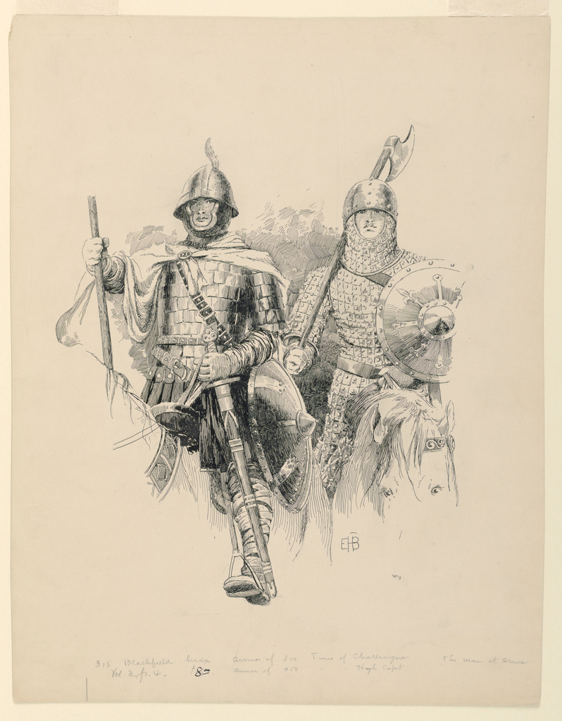 Two armored knights are seen frontally, astride their horses.