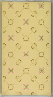 """Lattice of organic shapes with four-flower medallions. Yellow-beige ground. Printed in light pinks, light greens, brown and metallic gold. Printed in right selvedge: S.A. Maxwell & Co."""" Pattern number """"2209"""""""