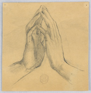Hands with palms facing each other, fingers pointed upwards, and wrists apart. The back of the left hand and the palm of the right hand are visible.