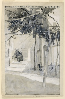 Scene depicts the courtyard of a mediterranean home, shaded by a grape arbor, with chickens pecking underneath at right.  A woman sits on a flight of steps at left, spinning a distaff.