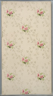 All-over repeating two-flower and white mica flower bouquets. Cream ground. Printed in greens, pinks, brown, and white mica.