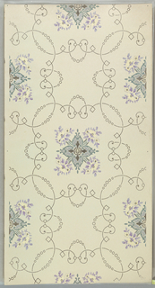 Flitter ceiling paper with quatrefoil shape with center fill of applied mica flakes centered within a larger quatrefoil shape composed of scrolling lines with strung beads. Printed in green, purple, and yellow on off-white ground.