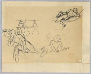 Sketch of reclining figures.