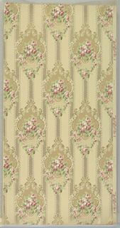 """Floral medallions with rose swags and foliate scrolls. Background of lace-like bands. Beige ground. Printed in tans, pinks, greens, gold mica, and silver mica.  Printed in selvedge: """"Standard Papers 2"""""""