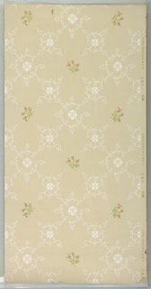 "Wave scroll and medallion lattice with small floral bouquets in resulting square spaces. Background of brown square dots in groups of four. Beige ground. Printed in greens, pinks and white. Printed in selvedge: ""Hobbs. Benton & Heath."" Pattern number ""381"" ""FM"""