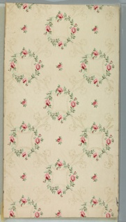 """Pink rose wreaths connected by lag and feather vining and interspersed individual roses. White ground. Printed in pinks, red, greens and white mica. Printed in selvedge: """"M.P. & C. M. of U.S. Union Made"""" [""""AOFL"""" or """"AFOL""""] Pattern number """"0265"""""""