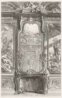 "Large-scale drawing of fireplace with andirons in foreground and cartouche decoration at rear of opening. The overmantel consists of a large rococo mirror which reflects the other side of the room. Three-branched wall lights are attached to either side of the mirror. At top of mirror, near ceiling, are two putti playing with garland flowers. Enclosed in a paneled frame (left) is a partial view of a painting, ""Zephyr et Flore,"" showing putti, flowers, and the legs of a goddess. A putto, holding a flamed torch, is at top of painting. In the paneled frame (right) is a partial view of a man holding a spear in his right hand with two dogs nearby."