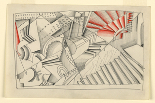 Drawing depicts an abstract cityscape in an angular perspective.