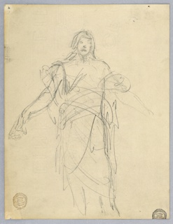 Sketch for Christ in the painting in the chancel of St. Bartholomew, New York City. Three quarter figure; the legs and lower parts of the arms are bare.