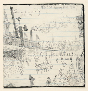 "Vertical rectangle. View of dock area looking toward river. City in distnace. Piles of merchandise at left and right. Horse-drawn wagon, center. At upper left in ink: ""Wall Street Ferry 1867– G. Reynolds."" Heavy ink border, three sides."