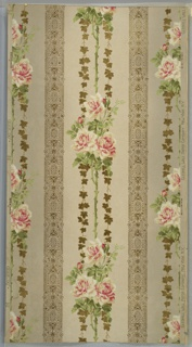 Art Nouveau/Mission Style (?). Alternating floral and geometric bands or stripes. Floral bands have rose bouquets on thorny vertical stem and two ivy vines. Geometric bands have floral motifs, beading, embossed (foliate scroll pattern) and shaded ground (grey to cream to grey). Printed in white, greens, light yellows, pinks, tan and gold mica.